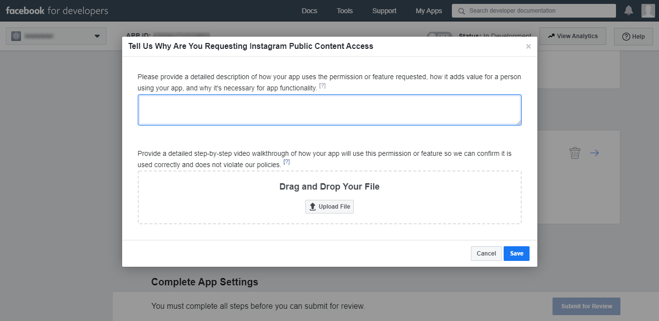Форма для запроса разрешений Facebook API