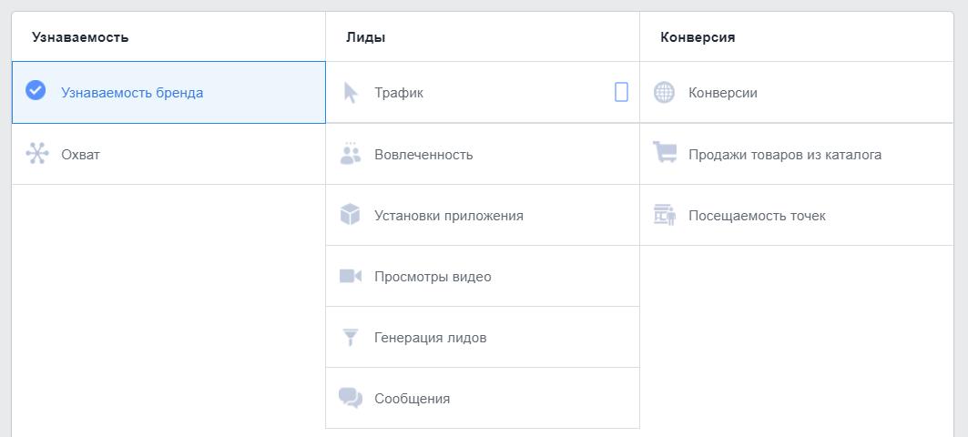 Выбор цели рекламы в Facebook