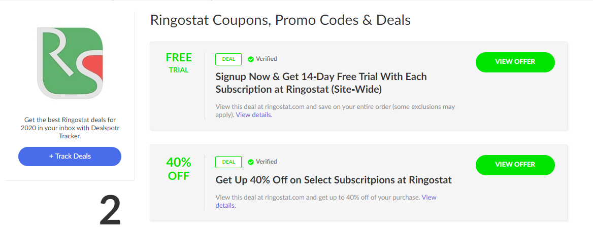 Example of the referral offers on the coupon and promo code website