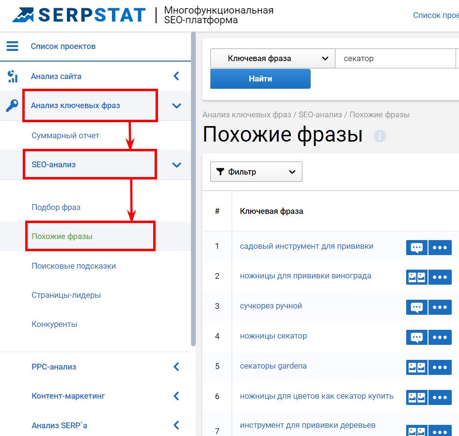 поиск синонимов и словоформ для SEO оптимизации