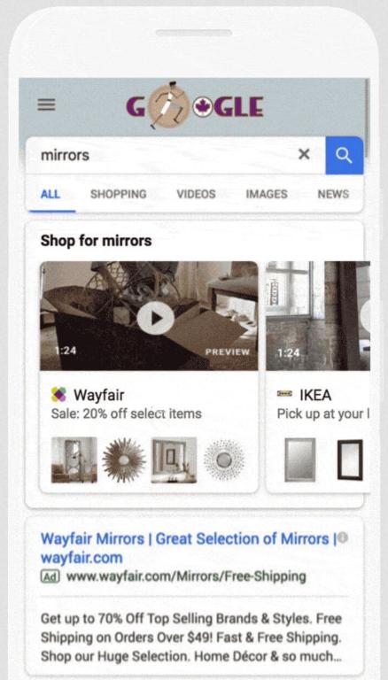 видео в товарных объявлениях-витринах