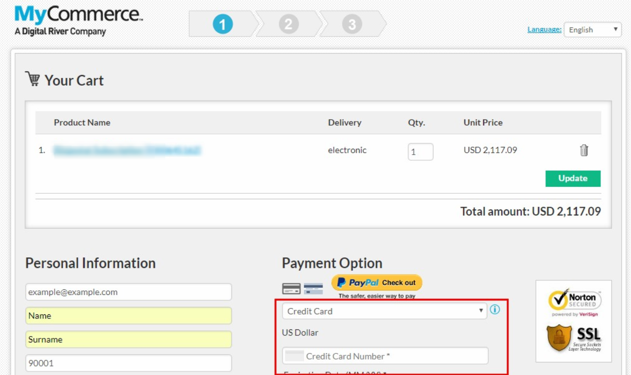 MyCommerce payment process example