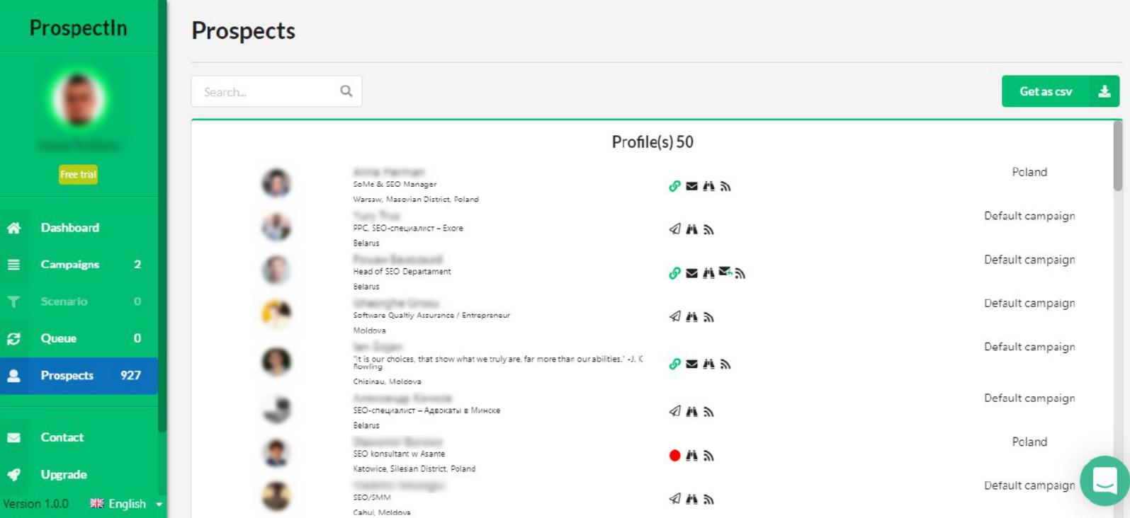 ProspectIn interface