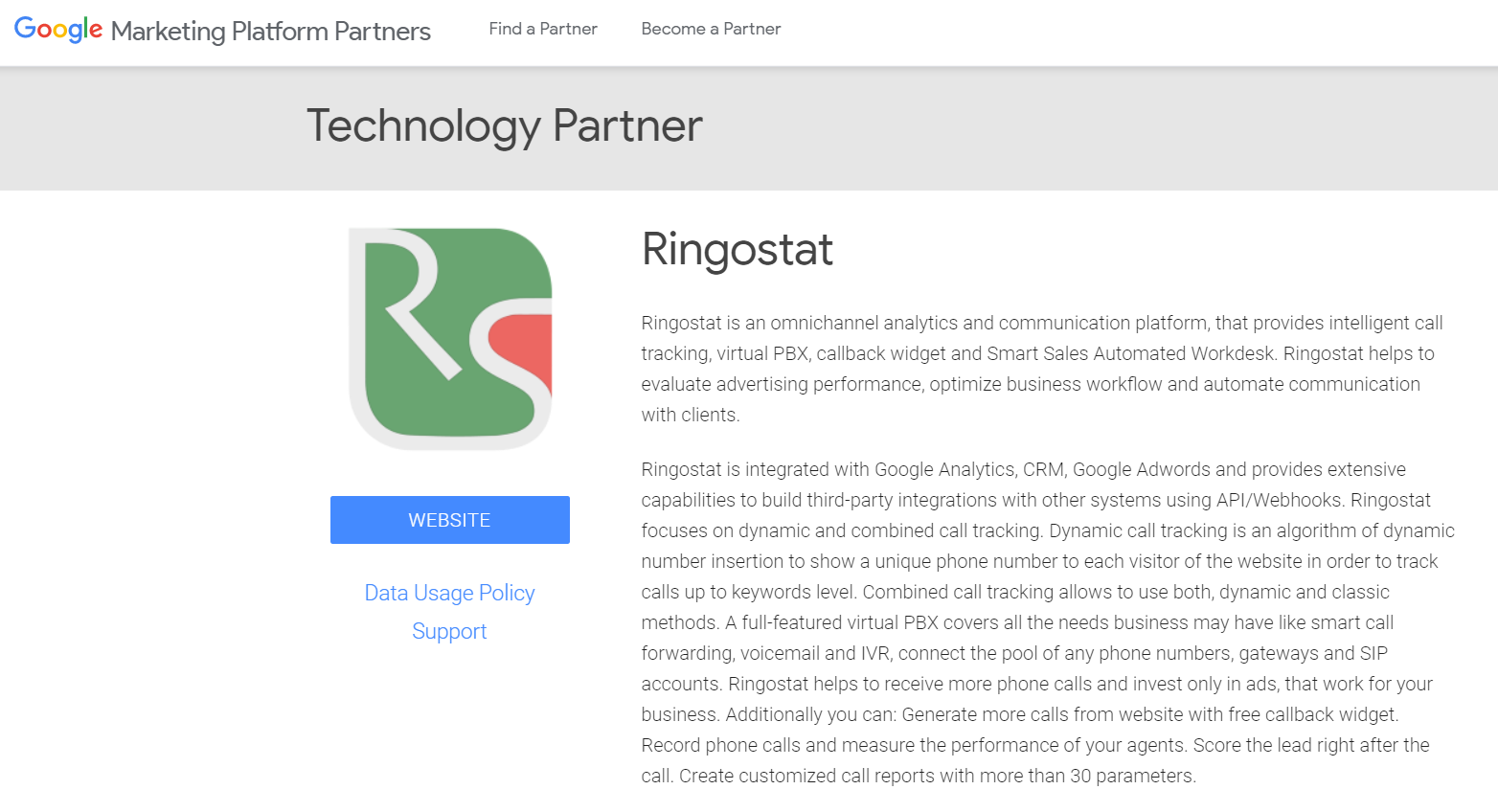 Ringostat is an official technology partner of Google Analytics