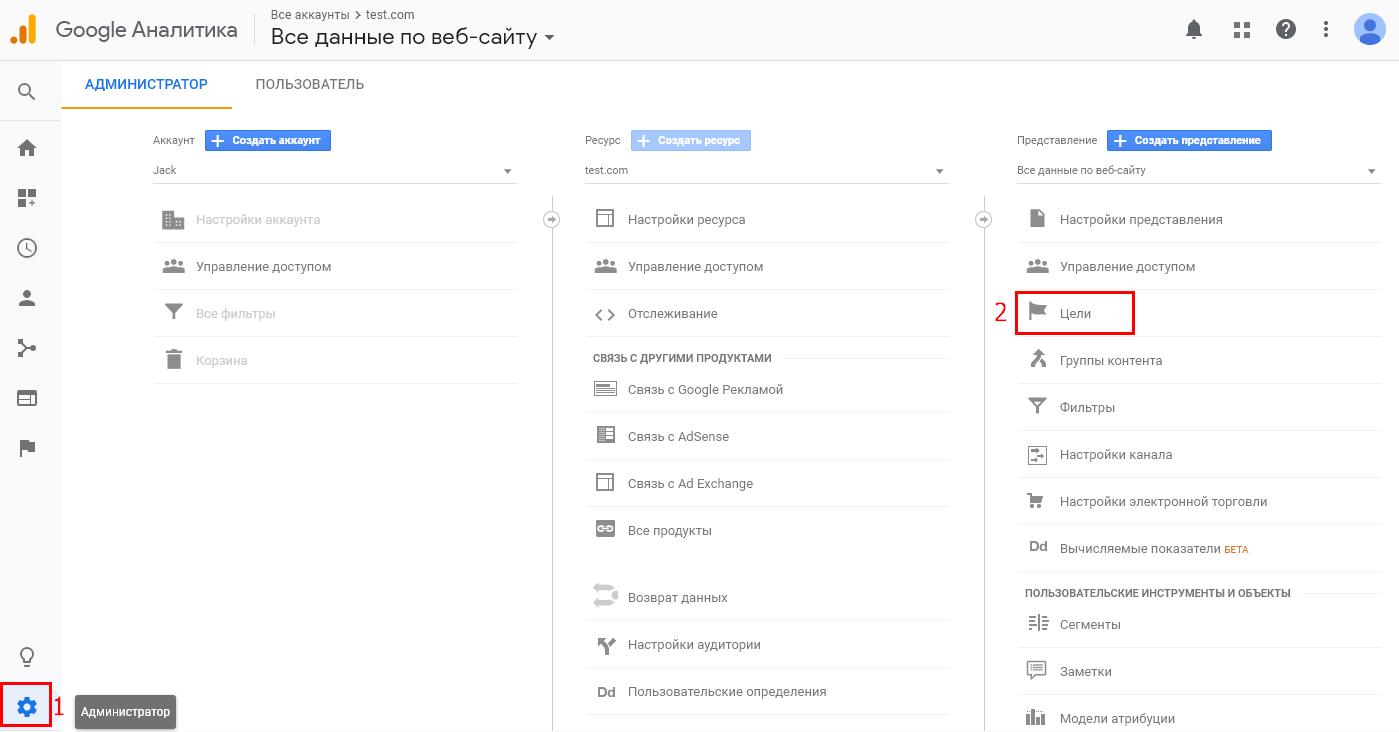 Настройка целей на звонки для коллтрекинга в Google Analytics