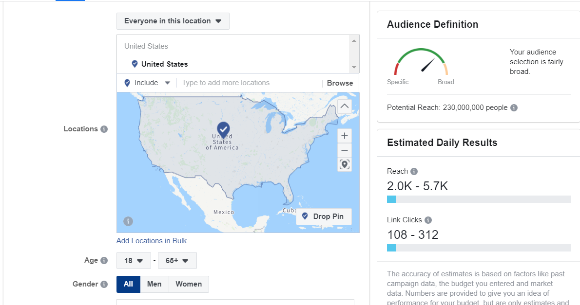Example of the audience customization in the Facebook ad account