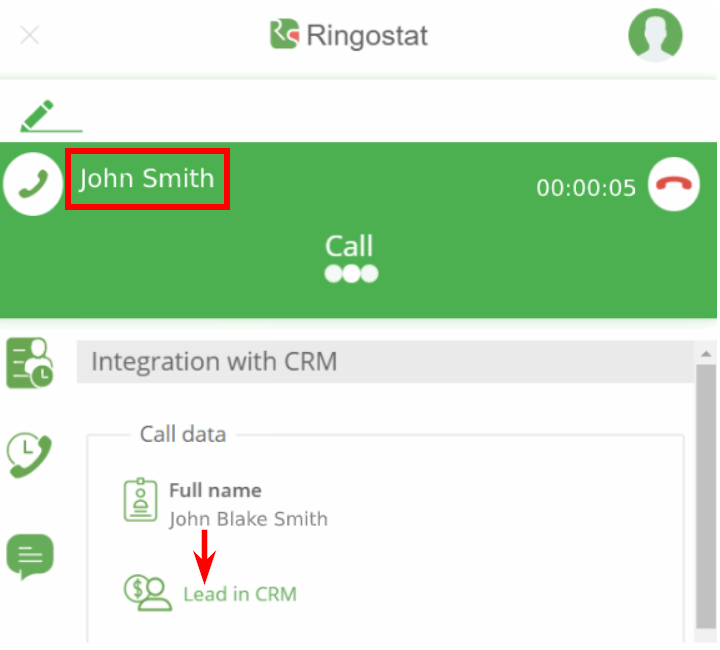 Ringostat Smart Phone - instant transfer to the CRM