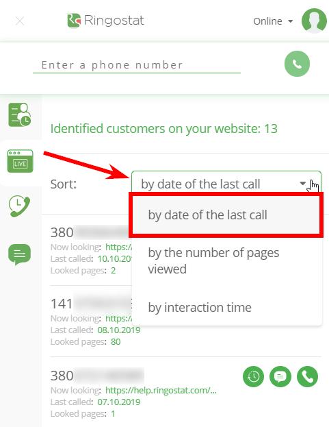 Ringostat Smart Phone 2.0 sorting options