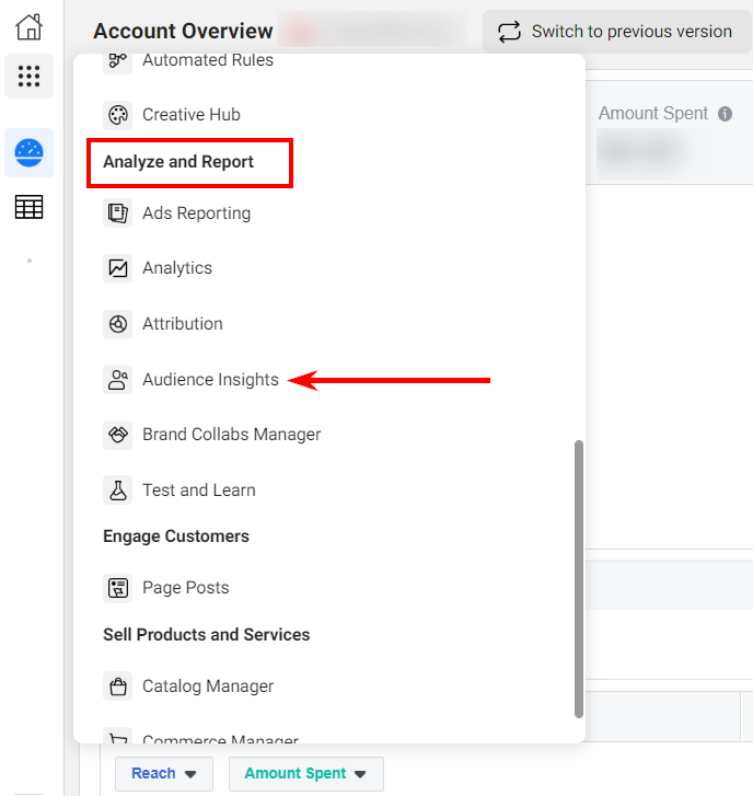 Where to find Audience Insights section in Facebook Ads Manager
