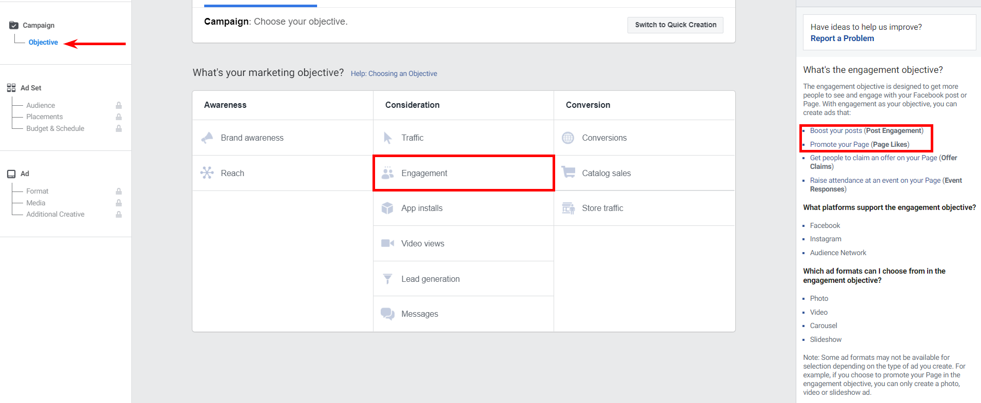 Objectives of ad campaigns on Facebook