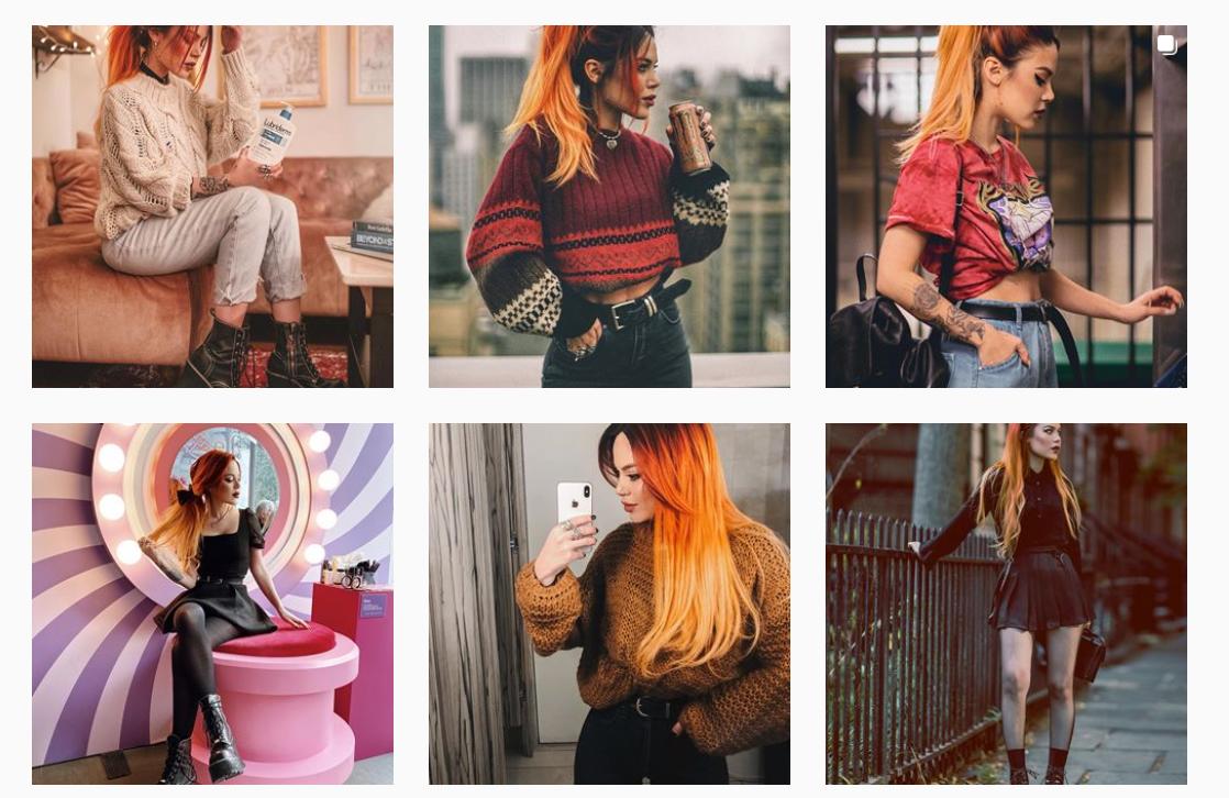 Color scheme of posts on Instagram