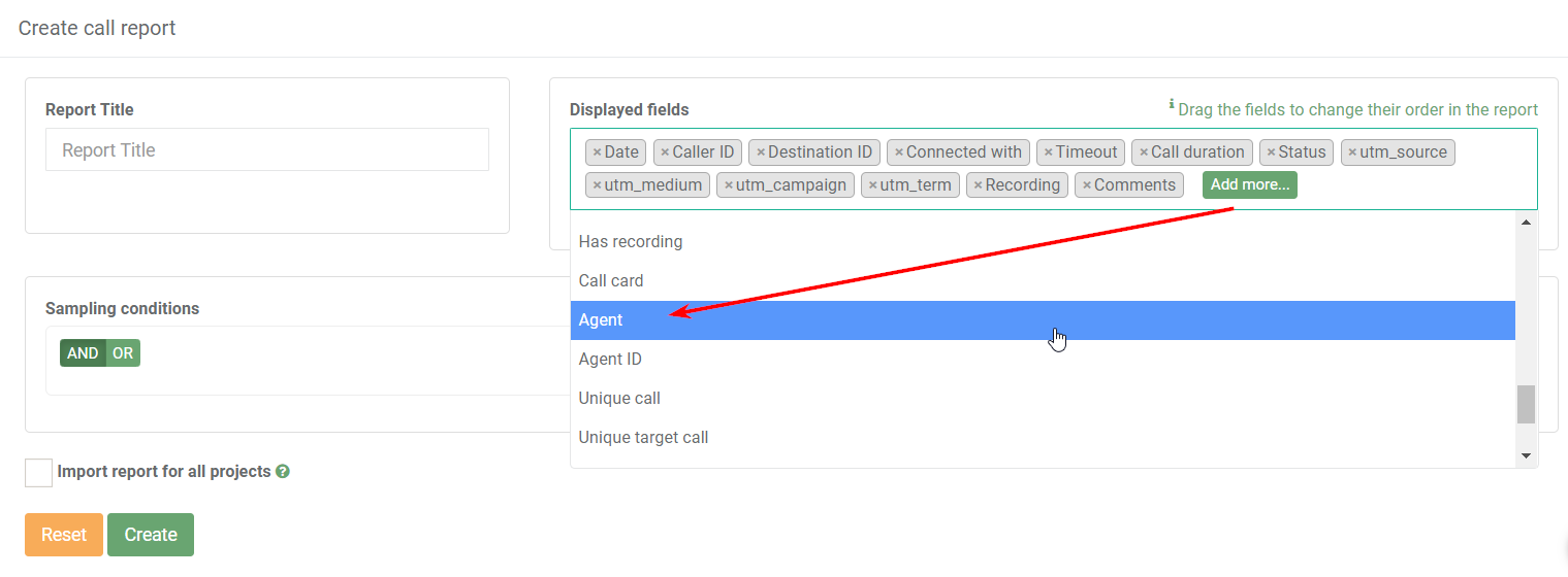 Call report creating by Agent