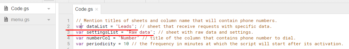 Script configuration