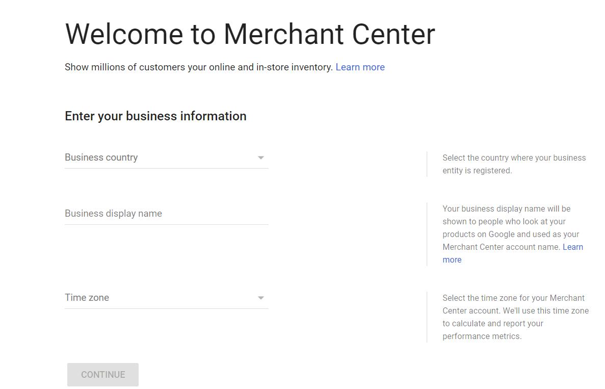 Google Merchant Center interface example