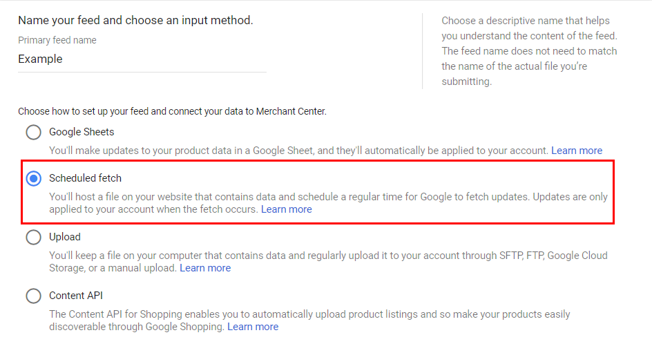 Options of feed connection with Google Merchant Center
