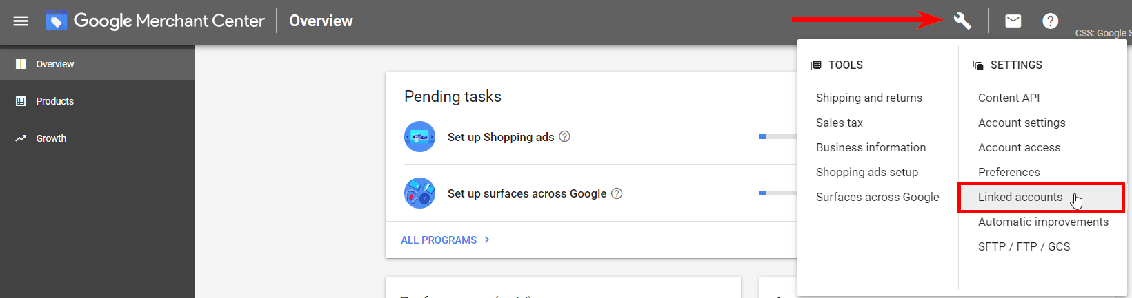 First step of Google Ads and Google Merchant Center accounts' linking