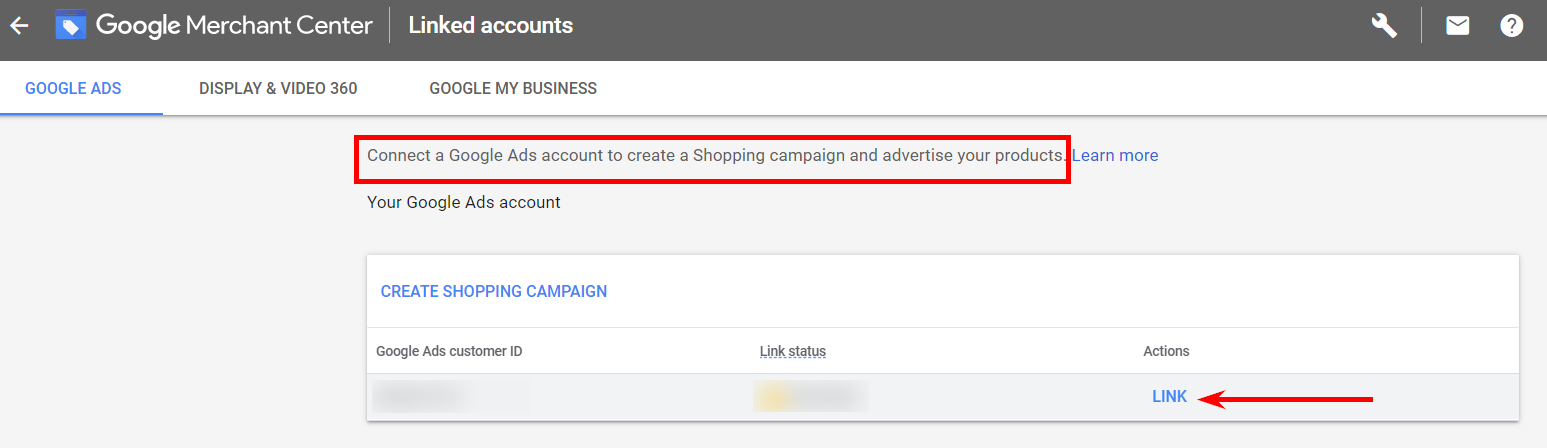 Second step of Google Ads and Google Merchant Center accounts' linking