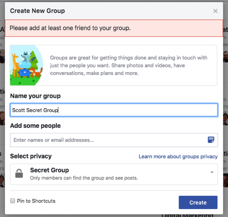 Example of the group creation on Facebook