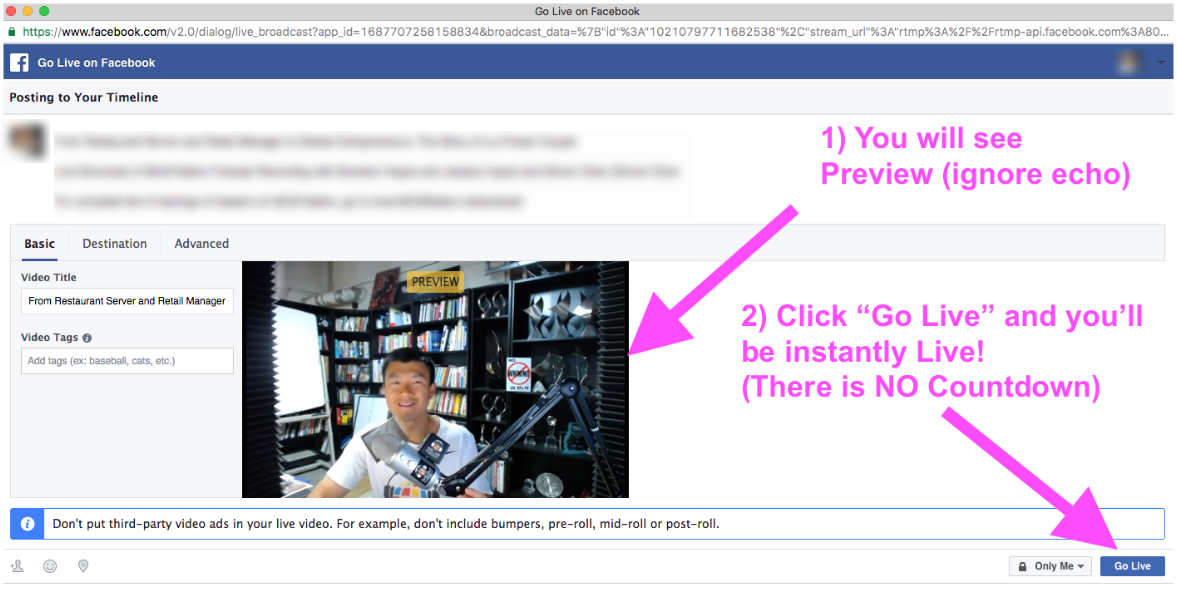 Example of the life stream on Facebook settings