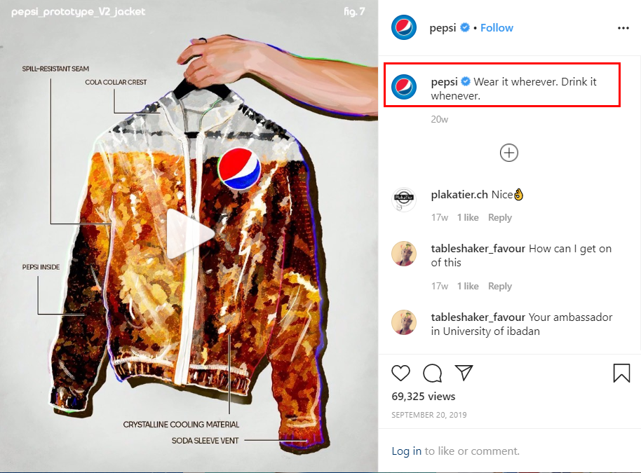 It's an example of how Pepsi makes a brief and laconic post on Instagram