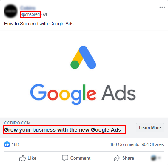 An example of a short ad on Facebook
