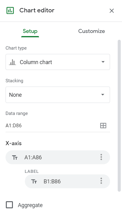 Go to Insert — Chart to make a graph