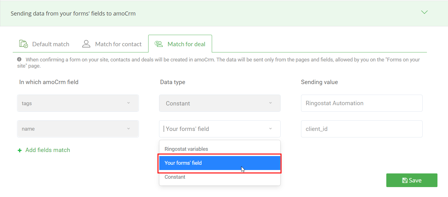 Sending data from your forms' fields to amoCRM