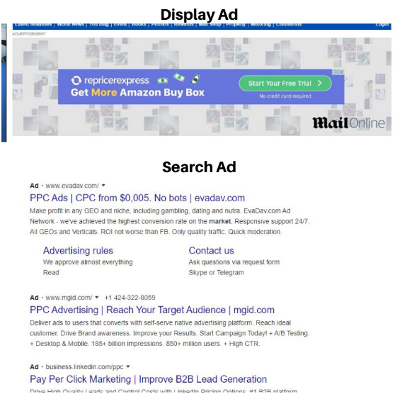 PPC campaign - Search ad and Display ad