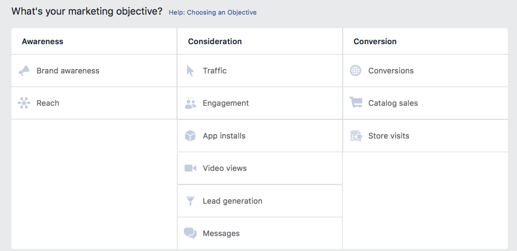 Options for PPC settings on Facebook's Ad Platform