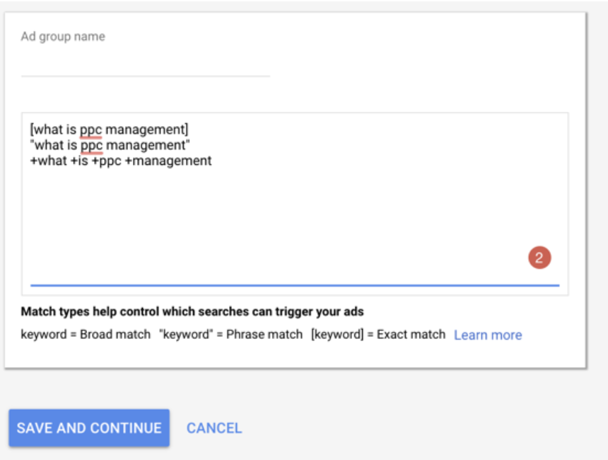 Testing ad groups for PPC