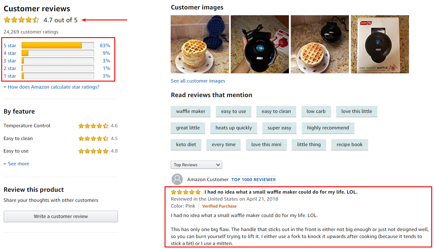 page with customers reviews for products