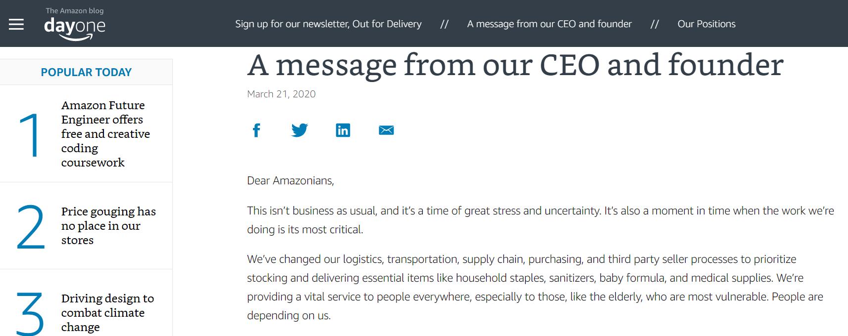 Сообщение от основателя Amazon своим сотрудникам в связи с карантином