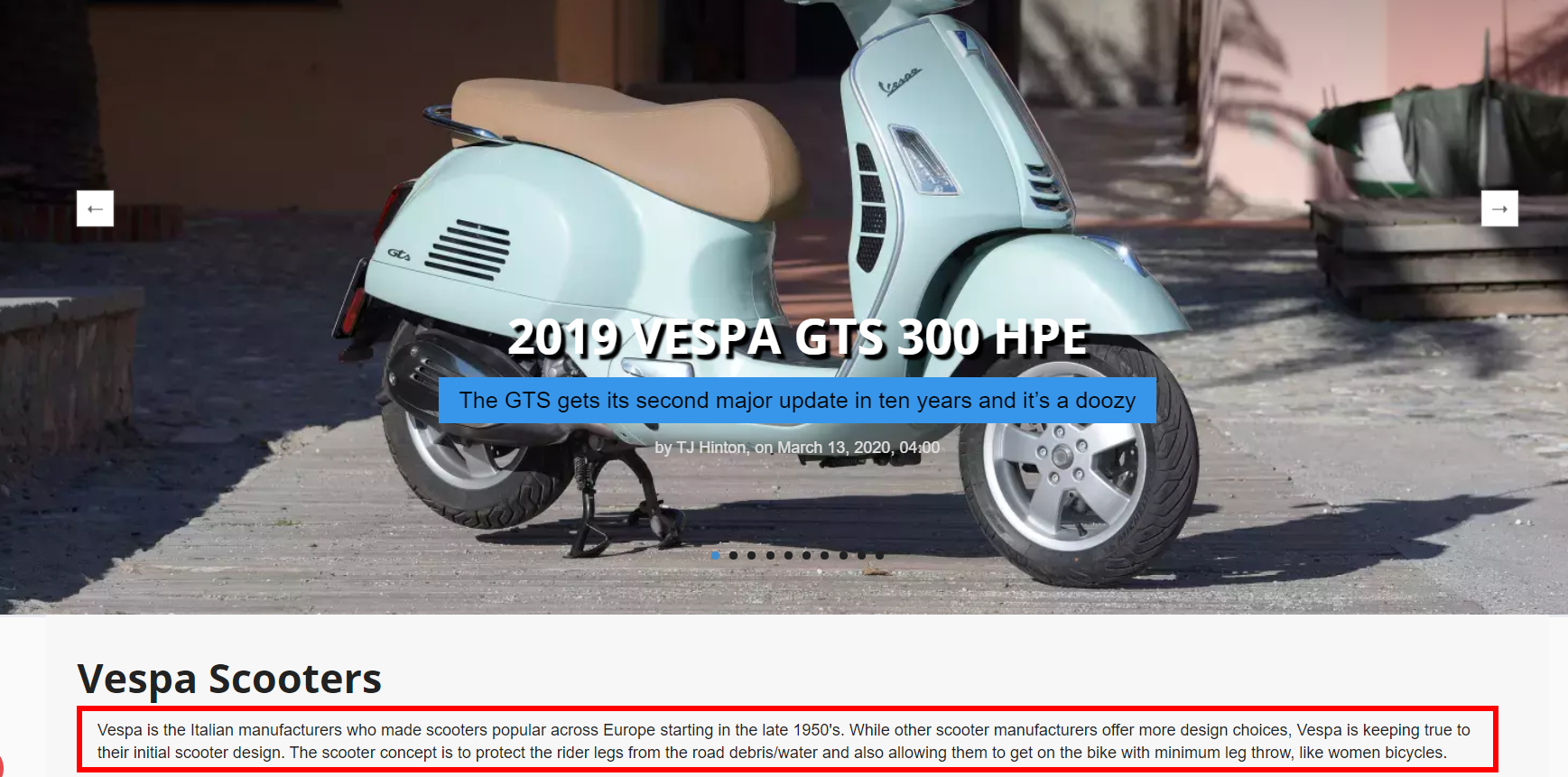 Example of a Vespa Scooter