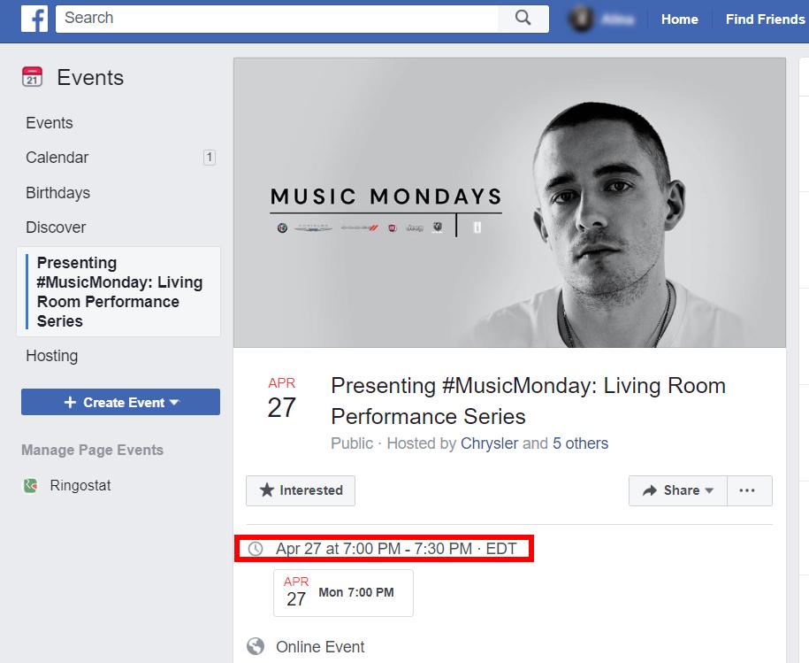Страница в Facebook и время в которое проходят выступления #MusicMonday