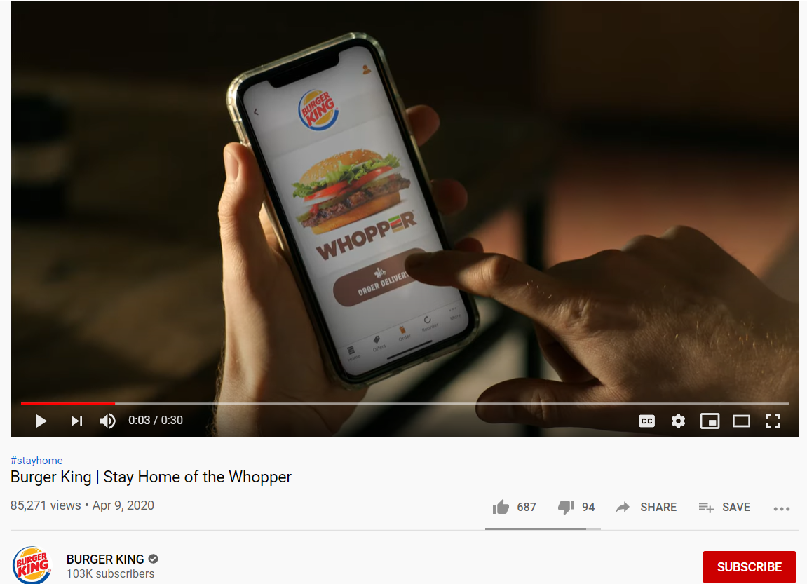 Burger King motivated consumers to stay at home during the quarantine and be