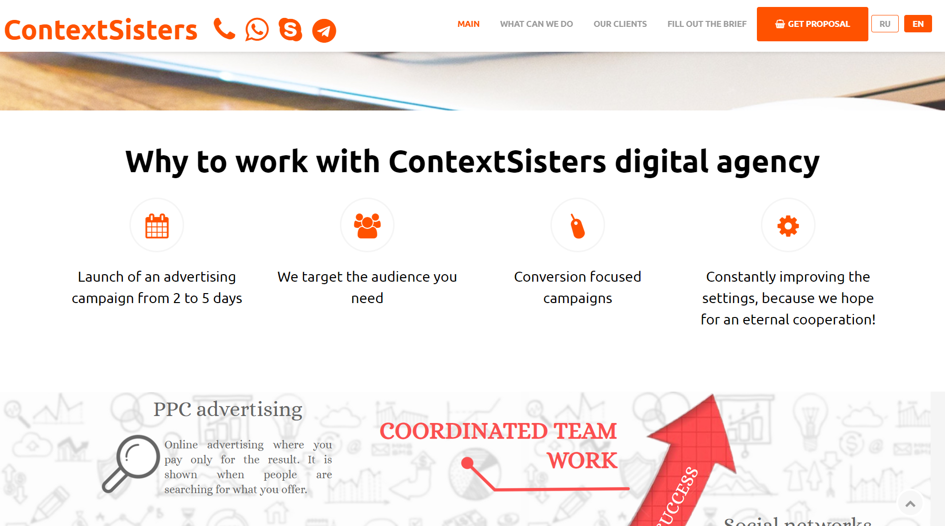 Advantages of work with Context Sisters digital agency