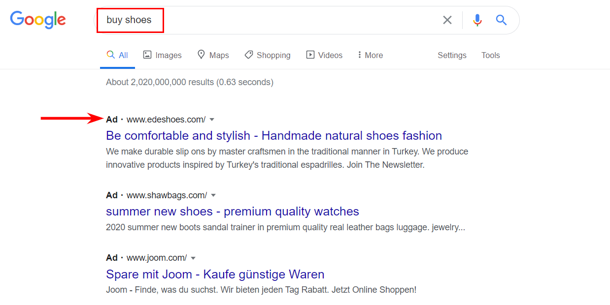 Search paid ads