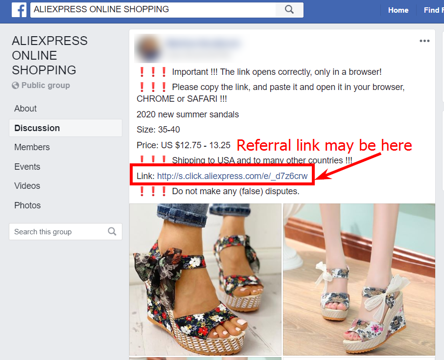 Create posts on social networks with your referral link