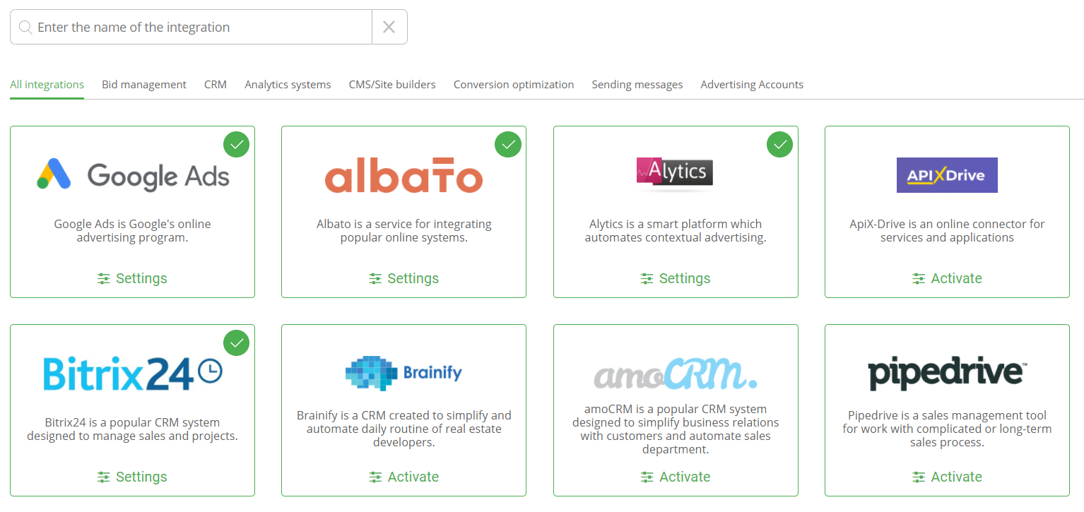 Marketplace + new integrations with CRM