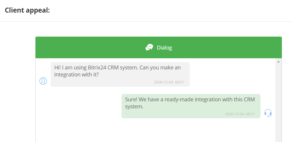 Example of the dialog in the message log