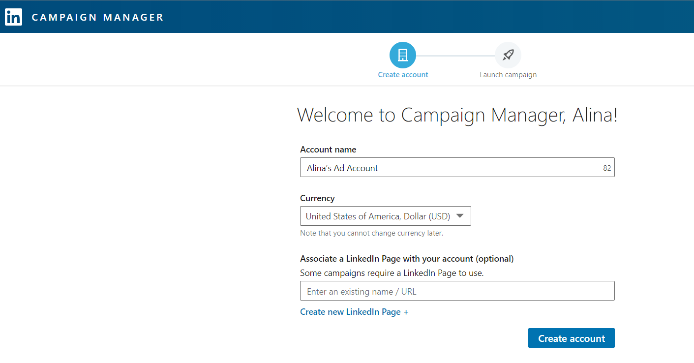Создание учетной записи в LinkedIn Campaign Manager