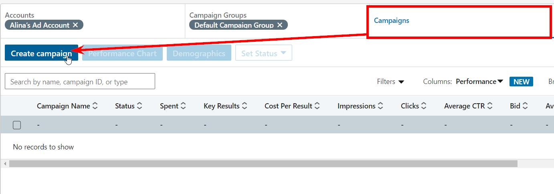 Процесс создания группы кампаний