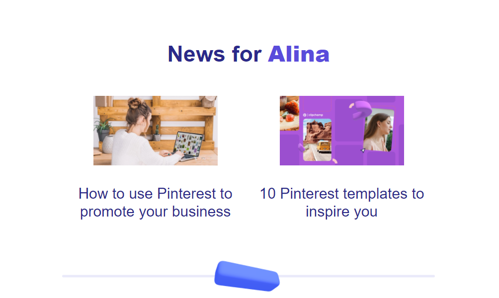 Personalized newsletter example