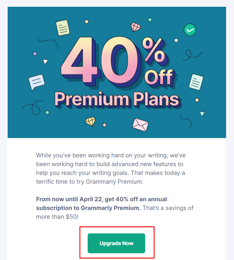 Example of the email CTA