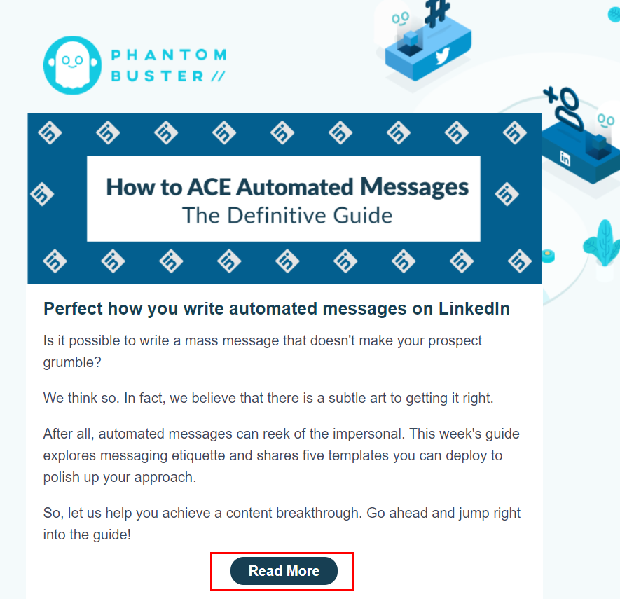 Example of the CTA button