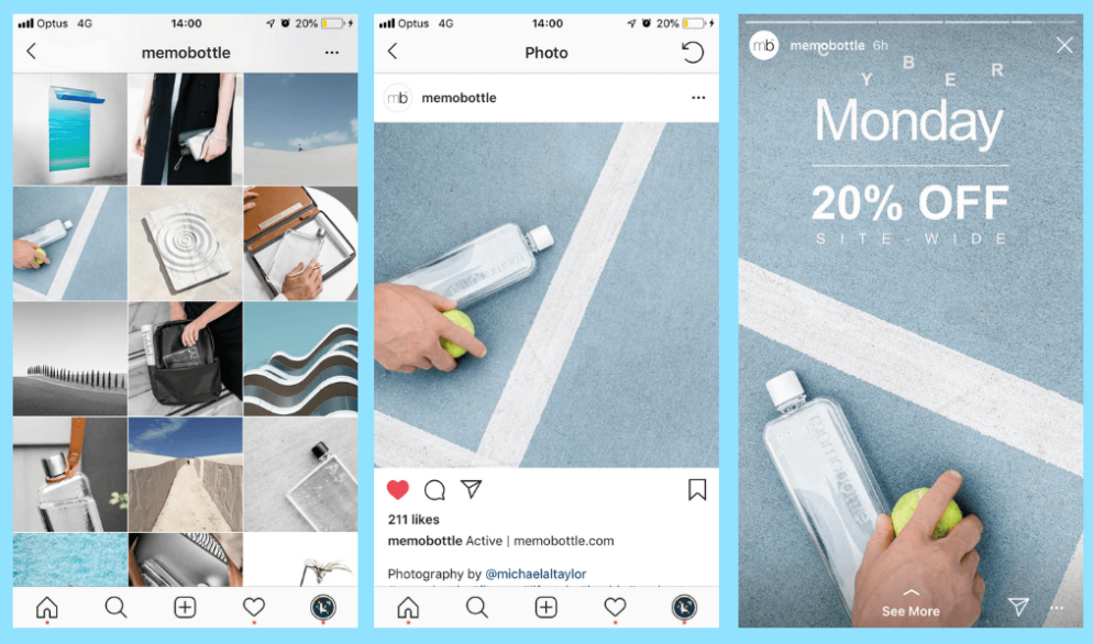Example of posts with products on Instagram